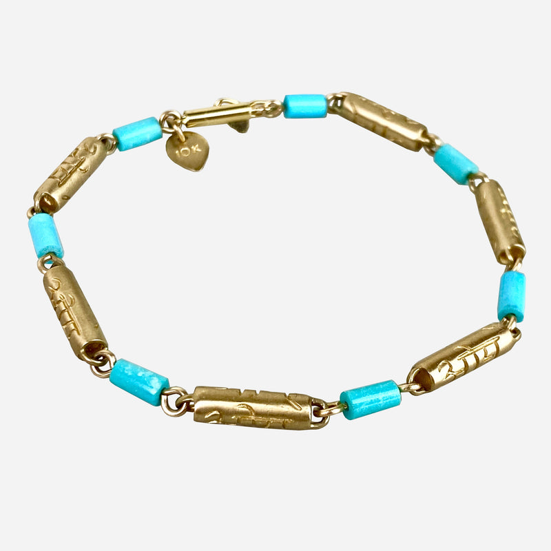 10K Yellow Gold and Turquoise Link Bracelet