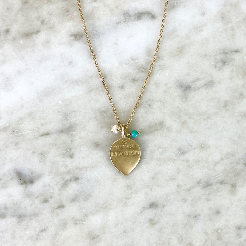 10K Yellow Gold Turquoise and Pearl Devotion Pendant Necklace