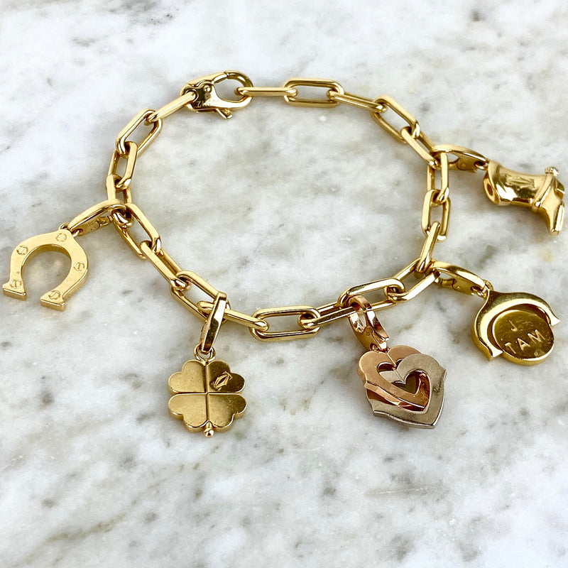 18K Yellow Gold Five Charm Bracelet