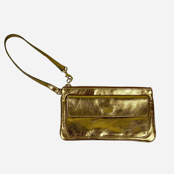 Metallic Gold Leather Wristlet