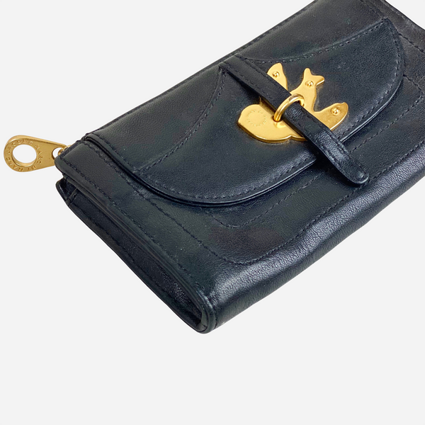 Black Leather 'Bird' Zip Wallet