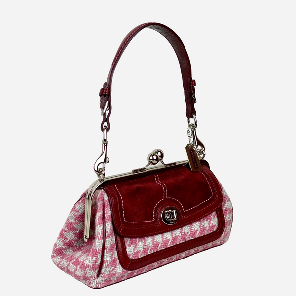 Wool and Red Suede Shoulder Bag