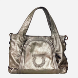 Metallic Silver Leather Gancini Shoulder Bag
