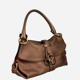 Metallic Brown Leather Gancini Shoulder Bag