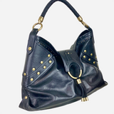 Black Pebbled Leather Hobo Bag
