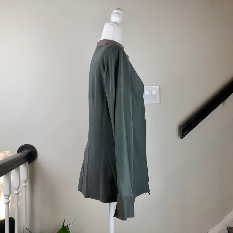 Green Silk and Cotton Blouse