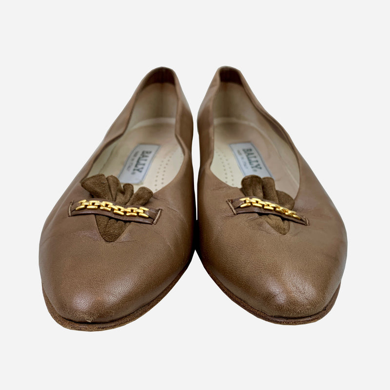 Brown Leather Round-Toe Flats