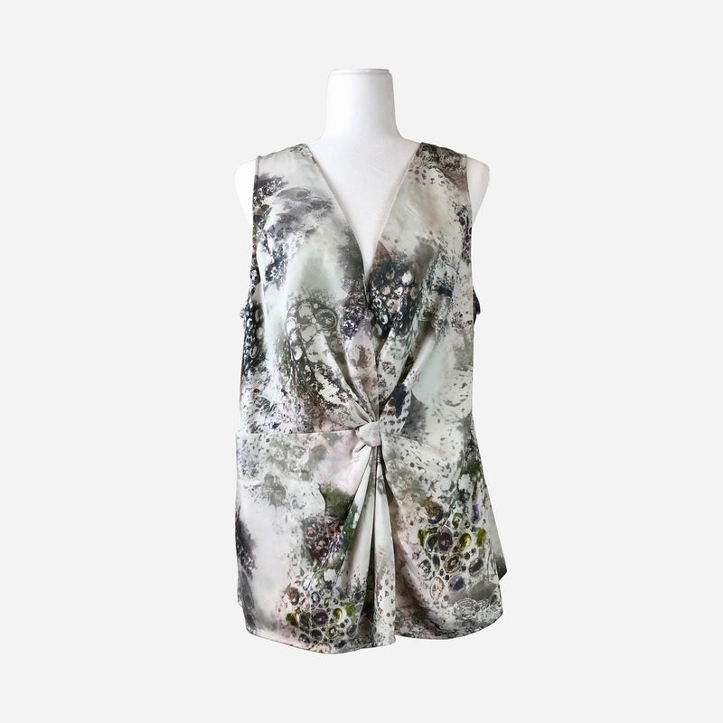 Abstract Print Sleeveless V-Neck Silk Blouse