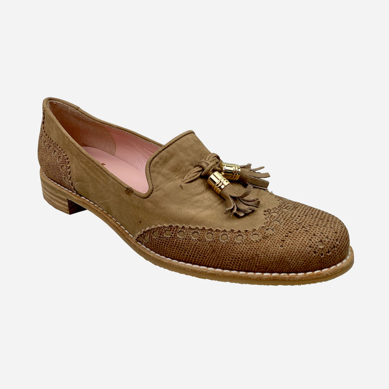 Brown Smooth Suede 'Guything' Round-Toe Wingtip Loafers