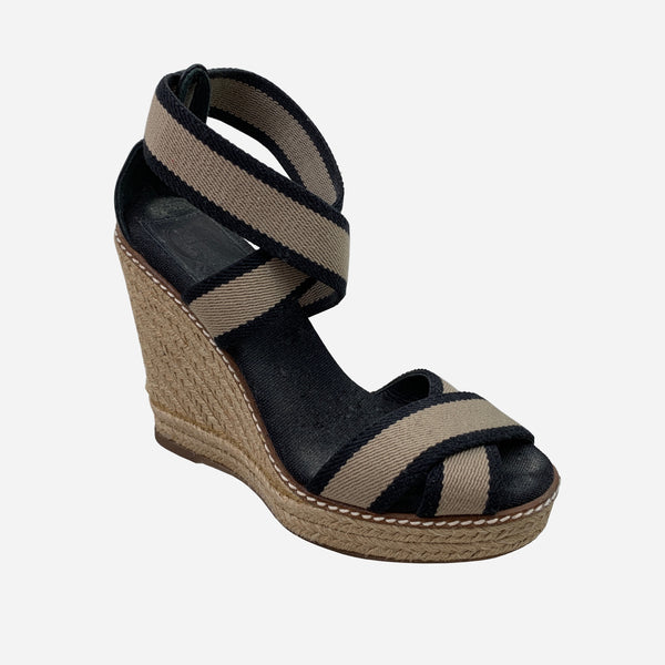Black & Tan Canvas Wedge Sandals