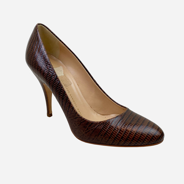 Giuseppe Zanotti Brown Embossed Leather Round-Toe Pumps