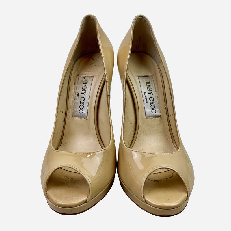 Tan Patent Leather Peep-Toe Pumps