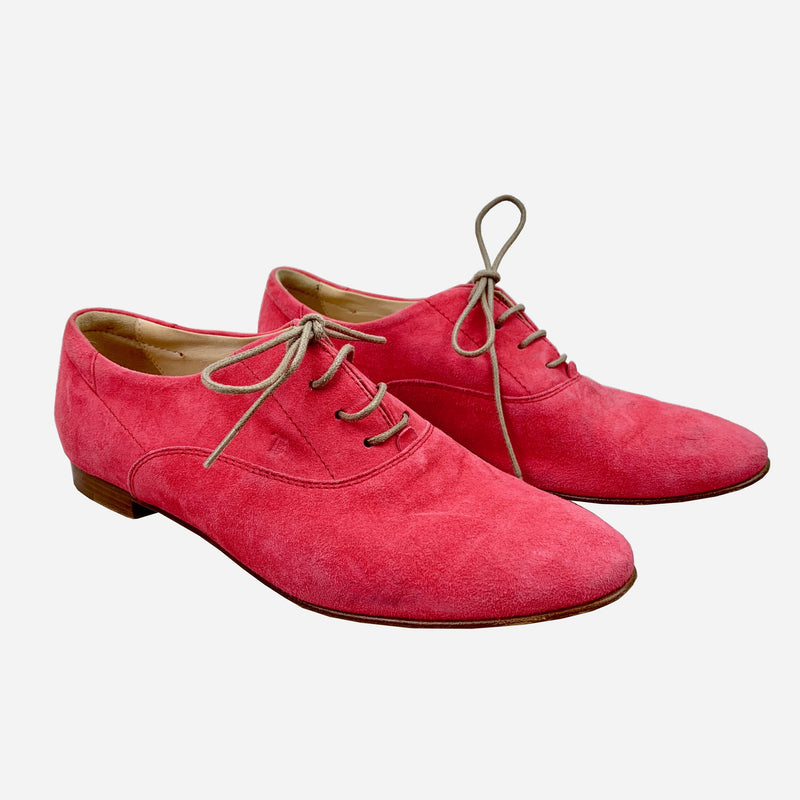 Pink Suede Round-Toe Oxfords