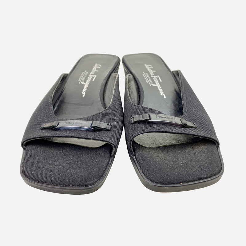 Black Canvas Square-Toe Slide Sandals