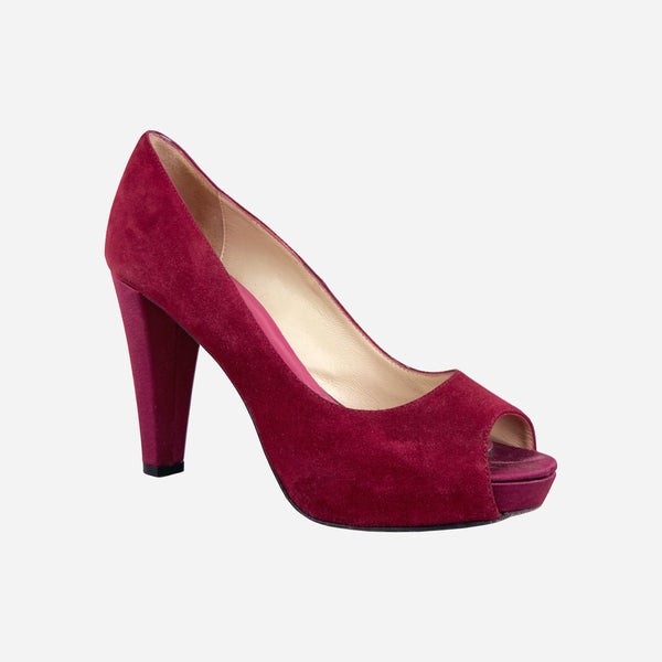 Red Suede Peep-Toe Hidden Platform Pumps