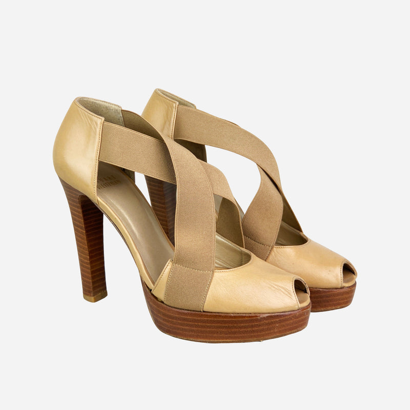 Tan Criss-Cross Peep-Toe Platform Pumps