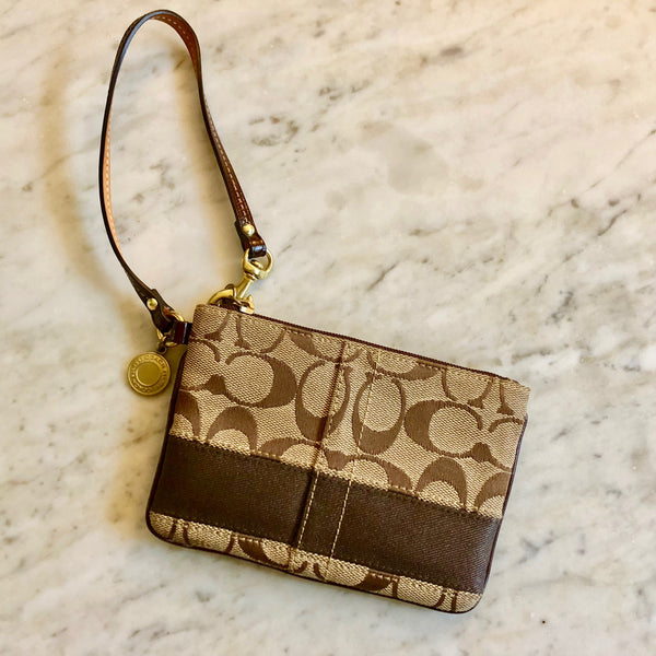 Brown and Tan Monogram Canvas Wristlet