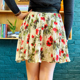 Multicolored Floral Printed Silk Mini Skirt