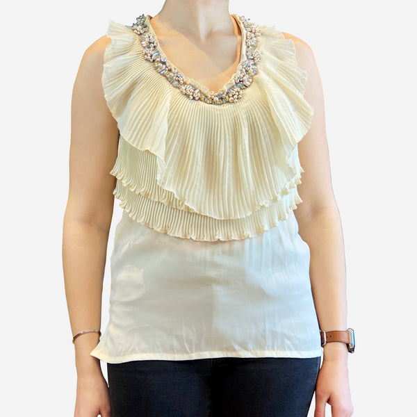 Cream Embellished Sleeveless Top