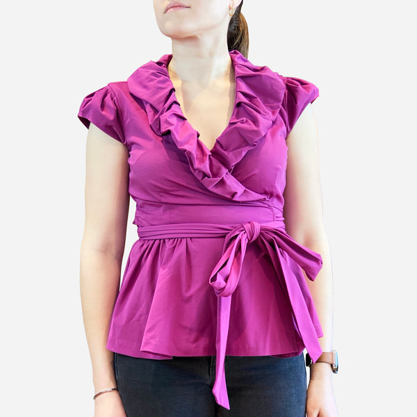 Purple Peplum Cap-Sleeve Wrap-Top Blouse