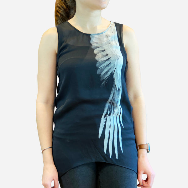 Black 'Bird Wing' Sheer Sleeveless Silk Top
