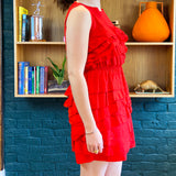 Red Ruffle Sleeveless Short Dress