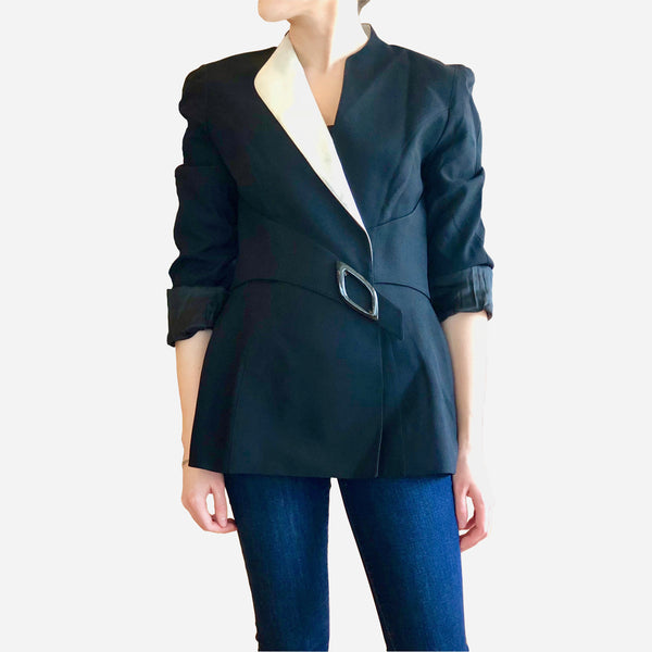 Vintage Thierry Mugler Couture Black and White Lapel Blazer