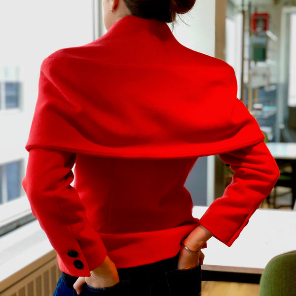 Vintage Chloé Red Coral Wool Double-Breasted Shawl Collar Jacket