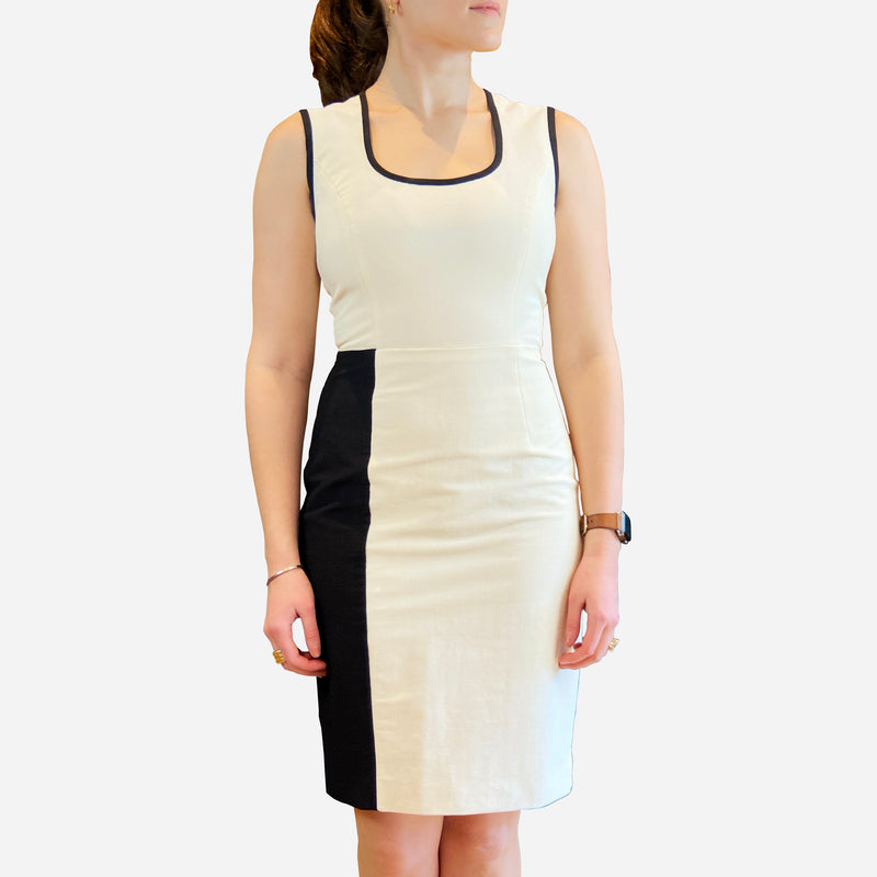 White and Black Sleeveless Scoop-Neck Dress
