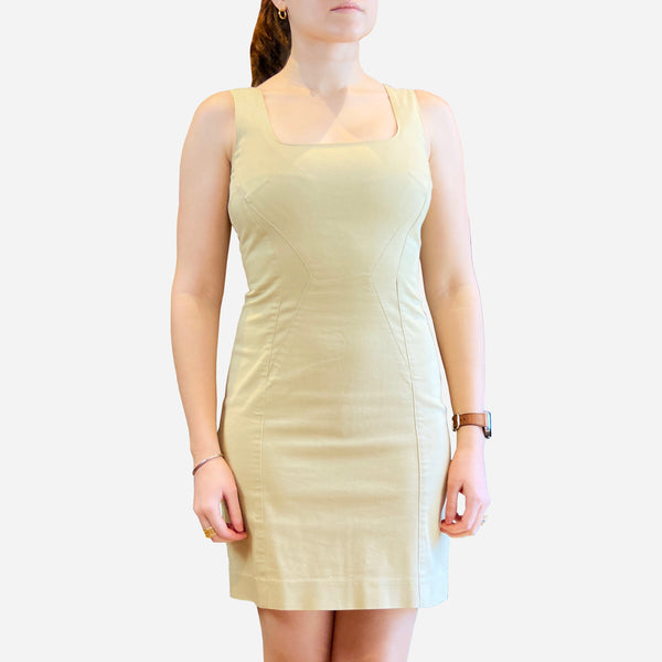 Khaki Sleeveless Square-Neck Cotton Dress