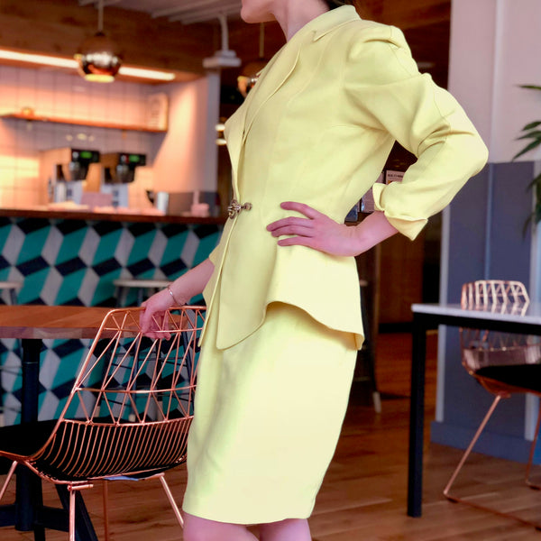 Vintage Thierry Mugler Yellow Skirt Suit