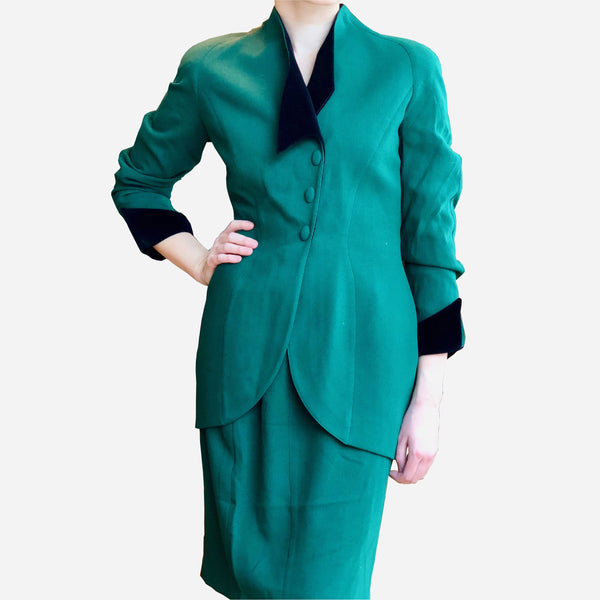 Vintage Thierry Mugler Dark-Emerald Green Wool Skirt Suit