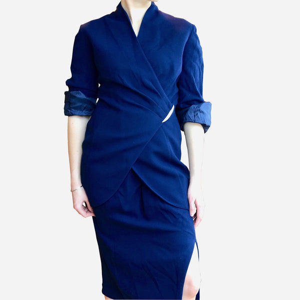 Vintage Thierry Mugler Asymmetric Navy Blue Wool Pleated Wrap Jacket Skirt Suit
