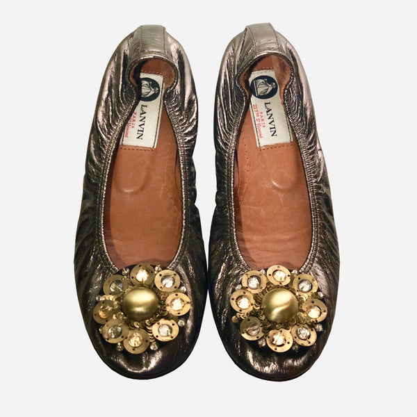 Metallic Leather Gold Floral Applique Ballet Flats