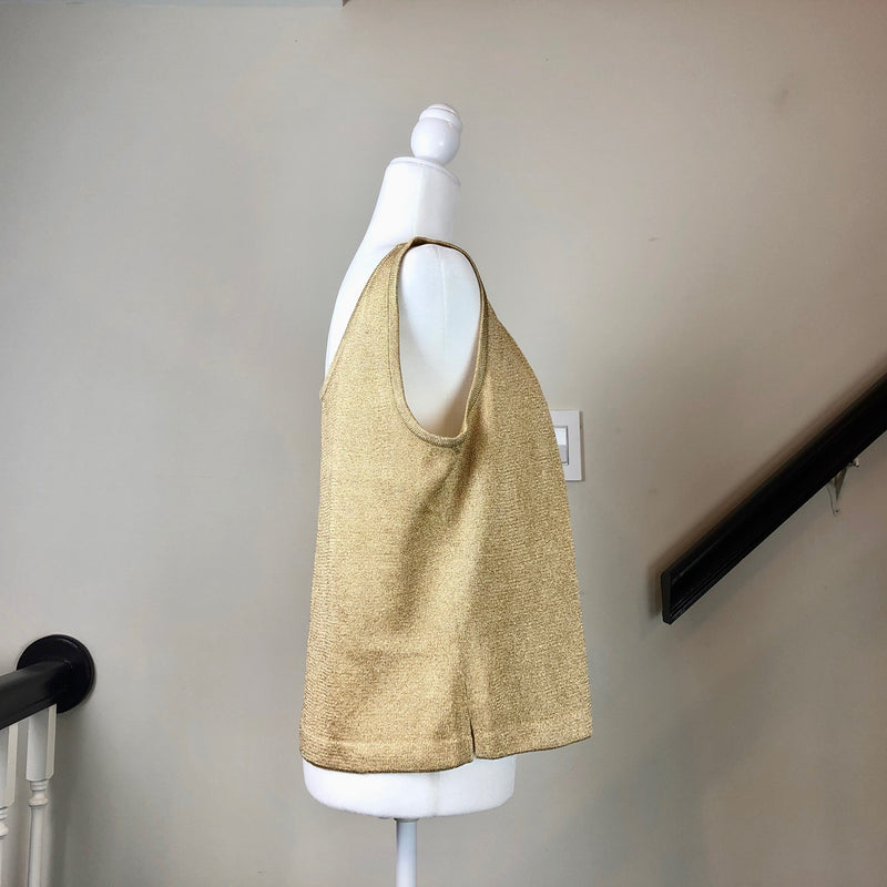 Metallic Gold Sleeveless Scoop-Neck Knit Top