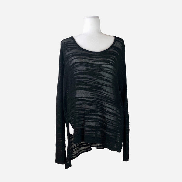 Black Scoop-Neck Medium Weight Sheer Sweater
