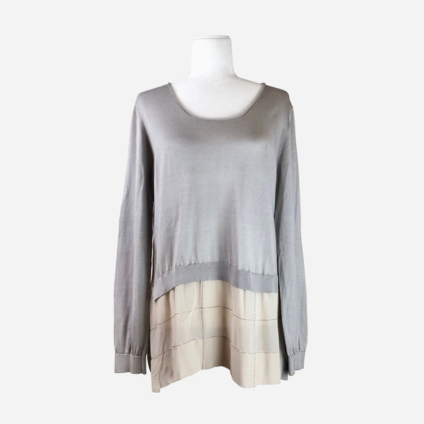 Heather Gray and Cream Layered Knit Long Sleeve Tunic