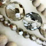 Gray Wood, Crystal, and Leather Multi-Strand Necklace