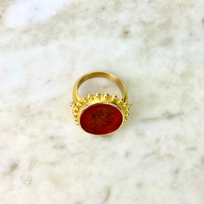 18K Yellow Gold and Orange Intaglio Oval Cocktail Ring
