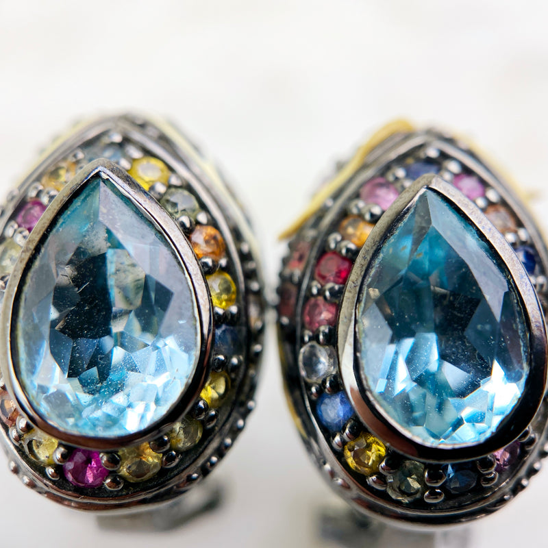 Sterling Silver, Topaz, and Multicolor Sapphire Ear Clips