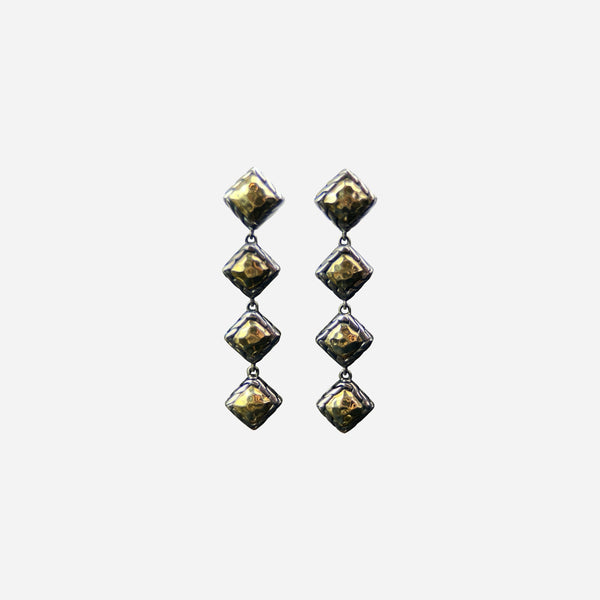 Sterling Silver and 22K Gold Parlu Square Drop Earrings