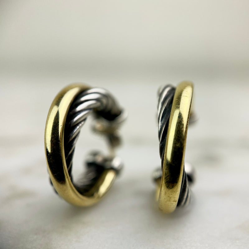 Sterling Silver and 18K Yellow Gold Small Crossover Hoops
