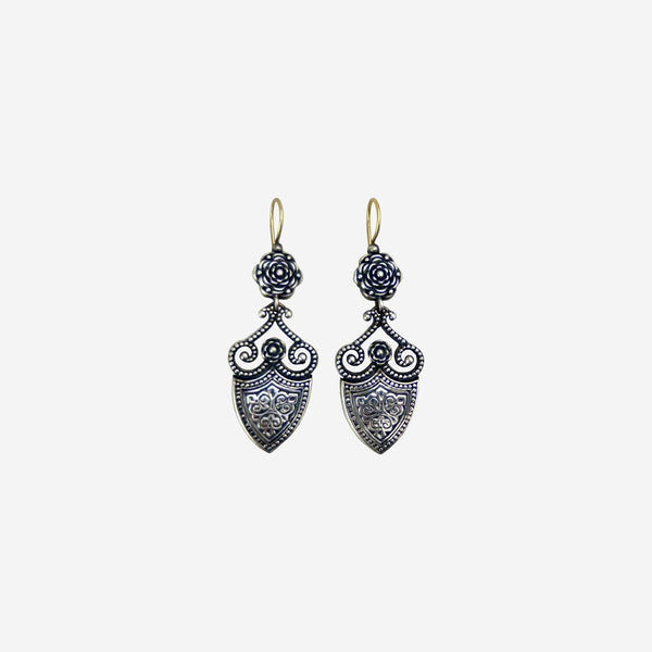 Sterling Silver Shield Drop Earrings