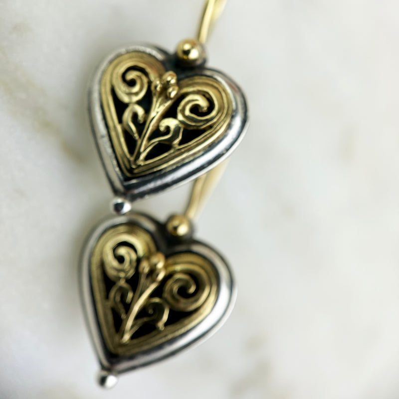 Sterling Silver and 18K Heart Drop Earrings
