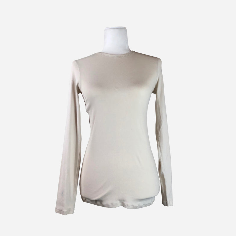Cream Long-Sleeve Ribbed T-Shirt