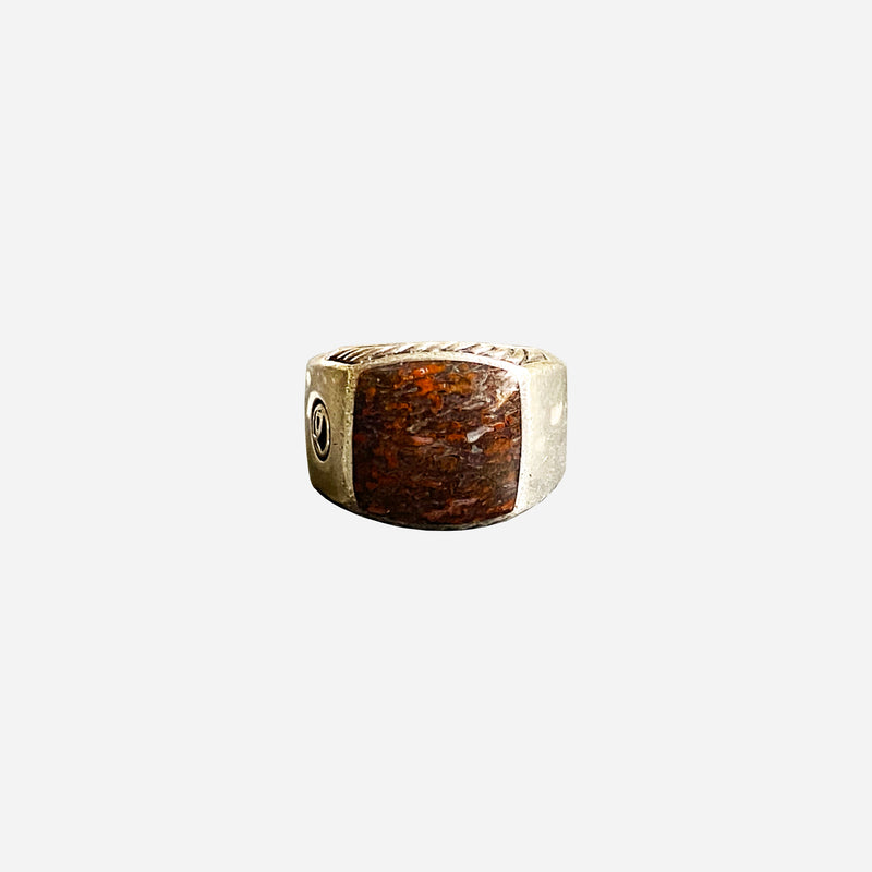 Sterling Silver and Fossilized Dinosaur Bone Signet Ring