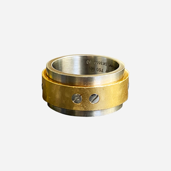 Stainless Steel and 18K Yellow Gold Santos 100 Ring