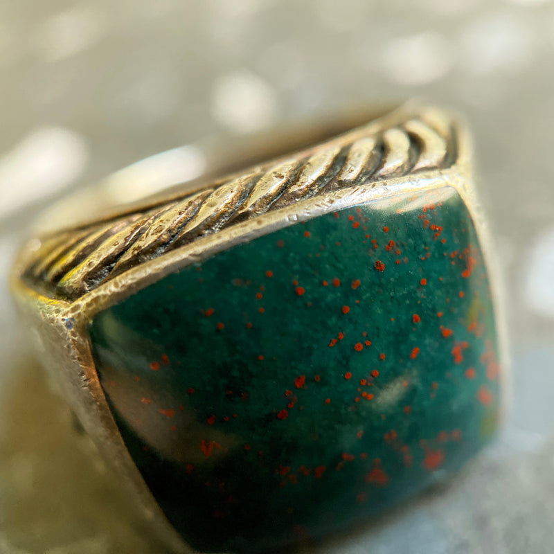 Sterling Silver and Bloodstone Jasper Exotic Stone Ring