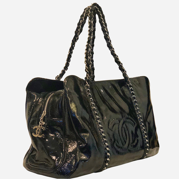 Chanel Modern Chain E/W Black Patent Leather Tote