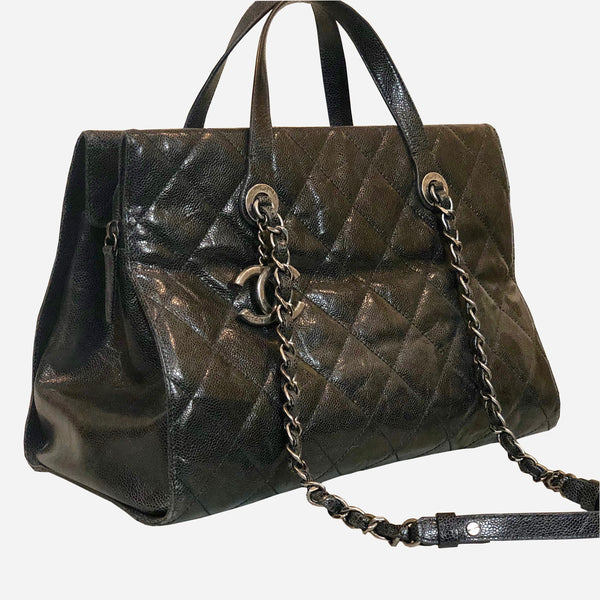 Chanel Black Caviar Chic Shopping Tote